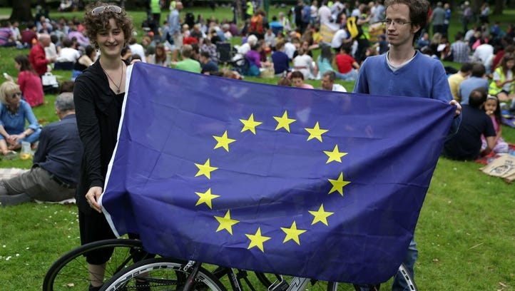 European Union supporters hold up a European Union