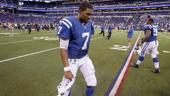 A dejected Colts quarterback Jacoby Brissett one of the many sad faces at the Colts game at Lucas Oil Stadium, Sunday, Oct 22, 2017. The Indianapolis Colts lost to the Jacksonville Jaguars 27-0.