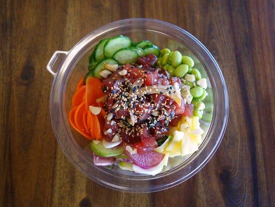 Hawaiian style poke with yellowfin tuna, cucumber,