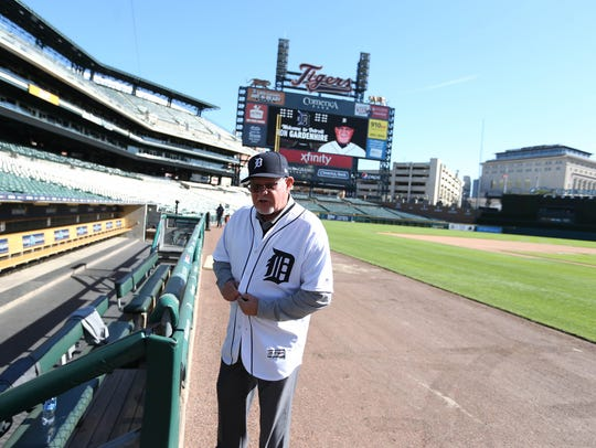 Ron Gardenhire stands on the field at Comerica Park on Friday after being introduced as the team's new manager.