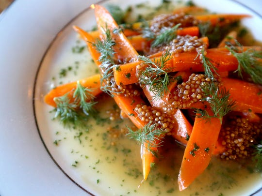 Sunseed Farm carrots with beer glaze, pickled mustard