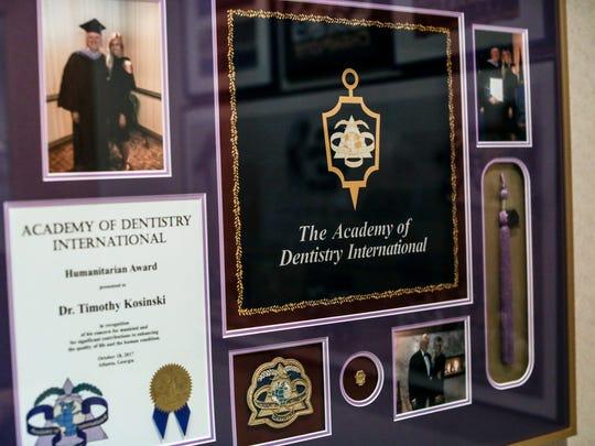 The Acadmey of Dentistry Internationl awarded Timothy Kosinski, DDS, MAGD a humanitarian award in 2017.