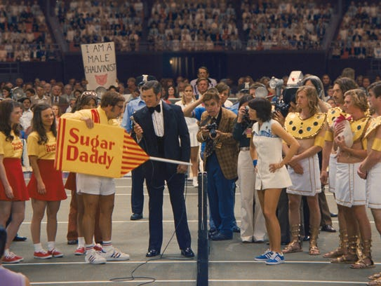 Steve Carell (as Bobby Riggs) presents a Sugar Daddy