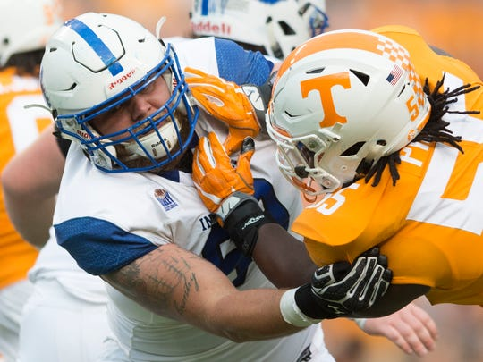 Indiana State's Kyle Erickson {69) and  Tennessee defensive lineman Quay Picou (55) push and shove during the Tennessee Volunteers vs Indiana State Sycamores game at Neyland Stadium in Knoxville, Tennessee on Saturday, September 9, 2017.