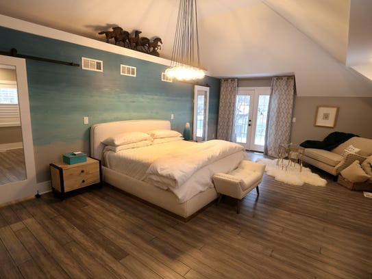 Vaulted ceilings can be found in the master bedroom,