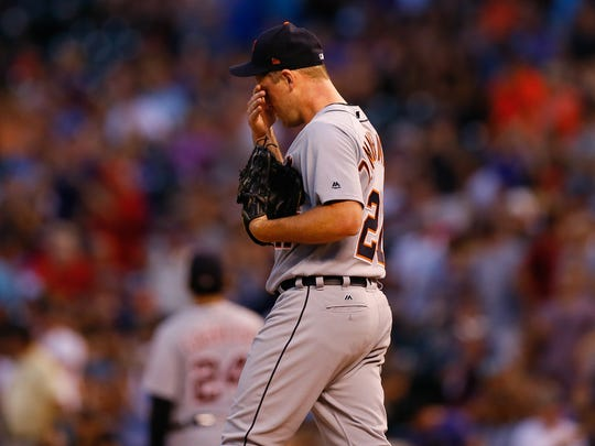 Tigers pitcher Jordan Zimmermann reacts after giving up a two run home run to Jonathan Lucroy of the Colorado Rockies Detroit Tigers of an interleague game at Coors Field on August 28, 2017 in Denver, Colorado. (Photo by Justin Edmonds/Getty Images)