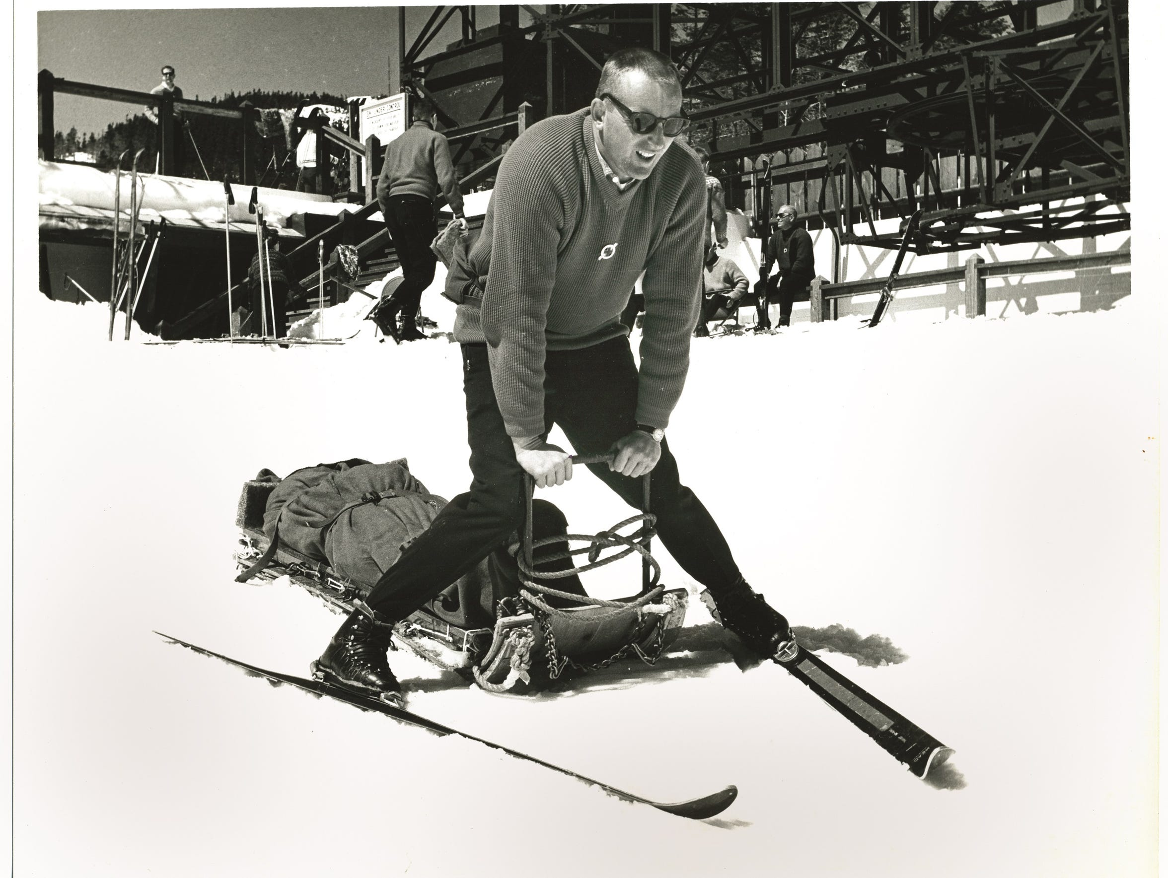 Photo circa 1965 shows longtime ski patroller Clarence
