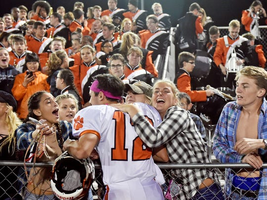 Central York students greet Mark Santos after the Panthers