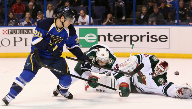 St. Louis Blues left wing Alexander Steen fires home his 18th goal of the season on Monday night.