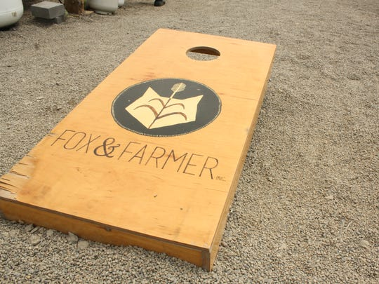 Outside of Beer Tree Brew Co., visitors can play cornhole