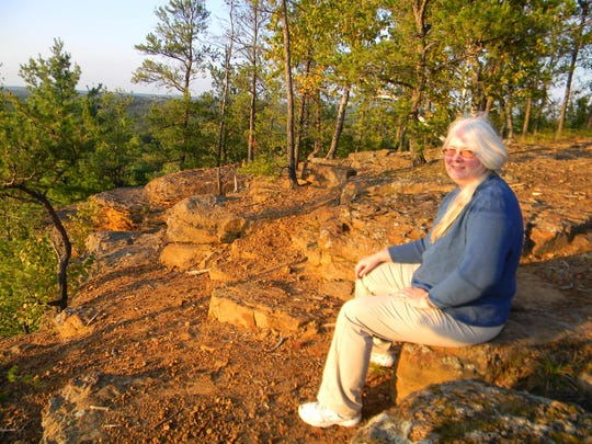 June Thompson at the summit of Wildcat Mound.