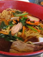 The Spicy Ramen is among several entree choices on Dragonfly Wine & Sushi Bistro's Lunch Special menu. It is served piping hot with pork, shredded carrots, greens and thin noodles.
