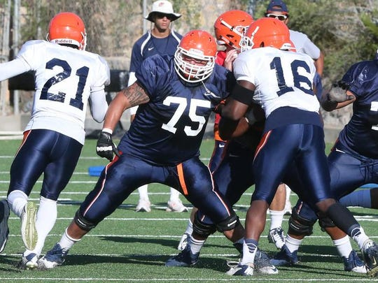 """UTEP offensive lineman Derek Elmendorff, 75, says the offensive line has to get back to basics to improve the running game."