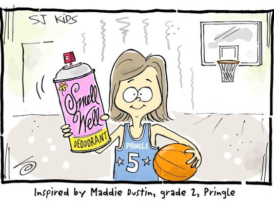 'Deodorant because I stink after playing basketball,' Maddie Dustin, Grade 2, Pringle