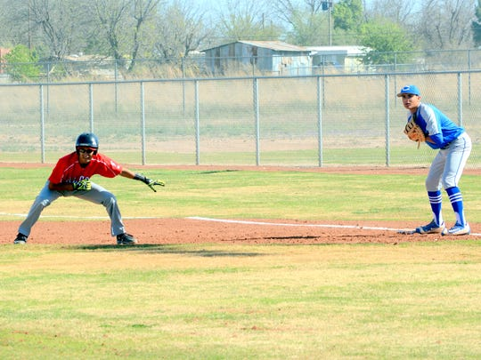 Loving's Isaac Gonzalez looks to take off for second base in game one Thursday at Bob Forrest Youth Sports Complex.