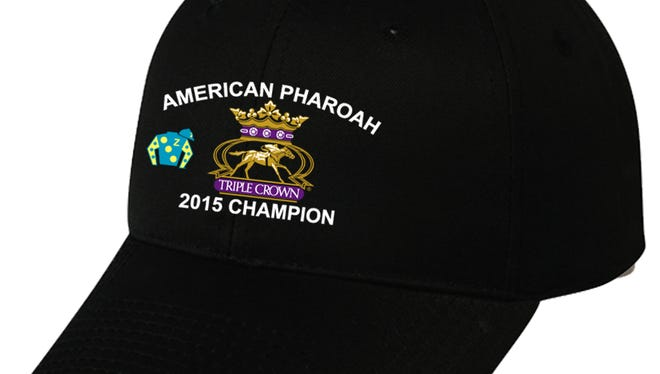 One of the licensed American Pharoah Triple Crown ballcaps produced by Louisville's All Pro Championships.