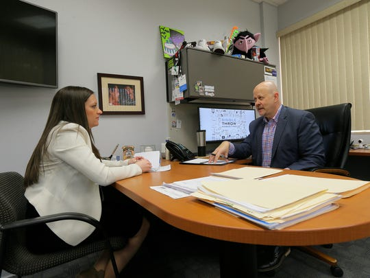 Jennifer Obsuth, COO, and Larry Bailin, CEO and founder, talk about the business at Single Throw Marketing, an 18-year-old Wall-based agency specializing in digital/online marketing, in Wall, NJ Monday March 26, 2018.