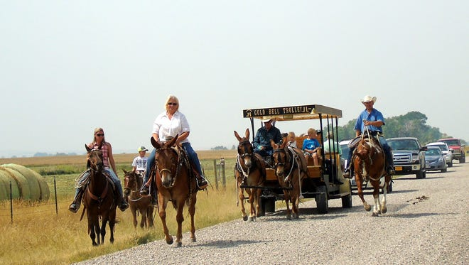 A trolley delivered visitors to the cemetery during Fort Shaw's 150th birthday