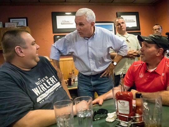 Pence greets customers at Price Hill Chili.