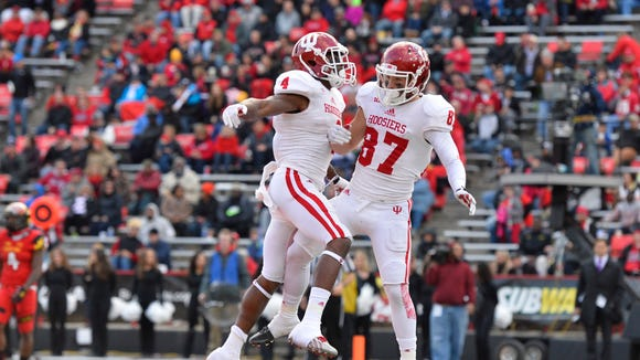 Indiana Hoosiers wide receiver Mitchell Paige (87) celebrates with wide receiver Ricky Jones (4) after scoring against Maryland, Nov. 21, 2015.