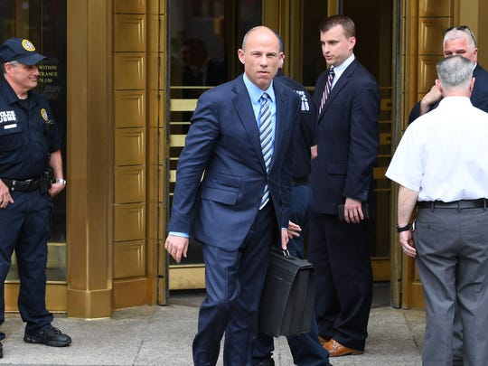 5/30/18 11:44:06 AM -- New York, NY, U.S.A -- Attorney Michael Avenatti leaves the U.S. Courthouse in New York and addresses the media after a scheduled hearing May 30, 2018. (Photo: Robert Deutsch/USA TODAY)