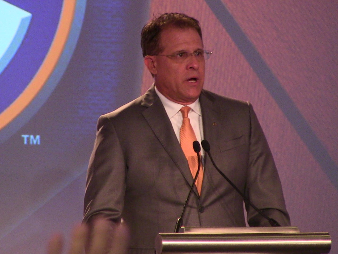 Auburn coach Gus Malzahn addresses the media Thursday during the final day of SEC Media Days in Hoover.