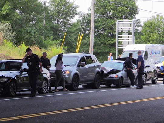 A four-car crash snarled traffic on Route 202 in Ramapo