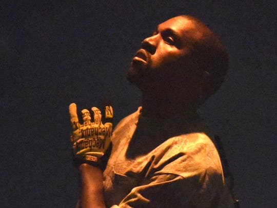 Kanye West performs at the United Center on Friday,