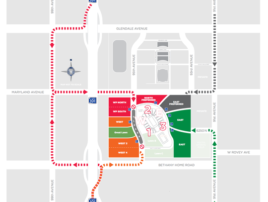 Cardinals training camp parking availability on July