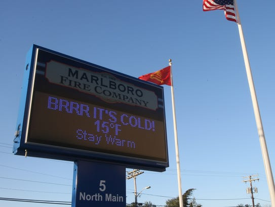 The sign along side of the Marlbor Fire Company, in