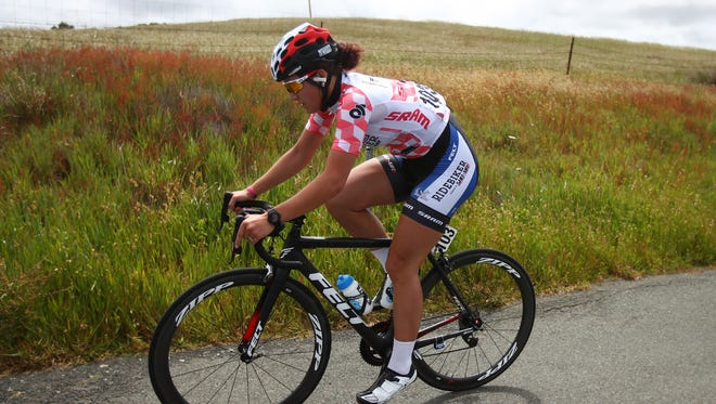 Chloe Dygert of the United States in the best young rider jersey rides during stage three of the Amgen Breakaway from Heart Disease Women's Race on May 21, 2016 in Santa Rosa, California.