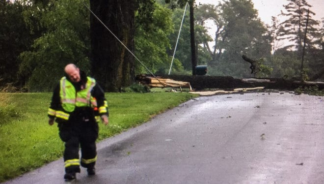 Friday's storm that blew through Delaware County caused downed trees and power outages.