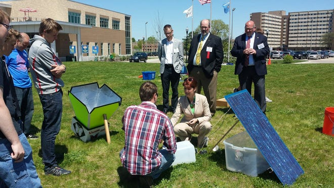 Lt. Gov. Rebecca Kleefisch (center) attended the 20th Annual Solar Olympics at the University of Wisconsin-Stevens Point Wednesday.