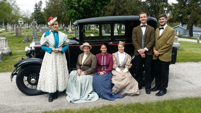 Plymouth High School drama students pose in period clothing at the annual Union Cemetery Walk. The event takes place May 20 this year.