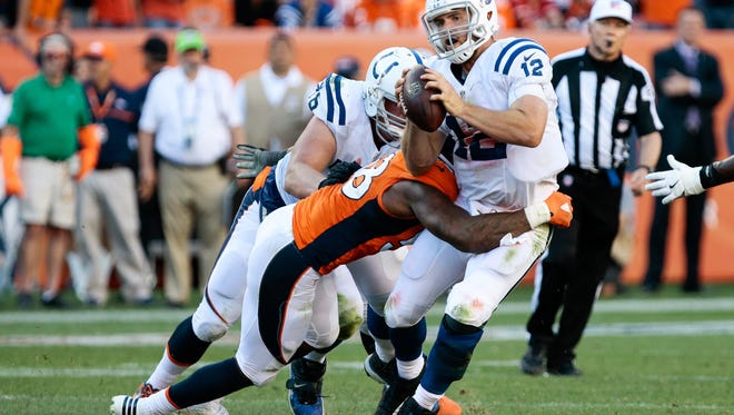 Colts quarterback Andrew Luck has been sacked seven times in two games this season, including five in Denver last Sunday.