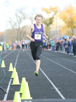 Andrew Ribeiro, Spanish Springs senior, won the boys 4A state cross country meet Saturday at Shadow Mountain in Sparks.
