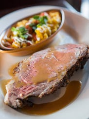 One of the featured dishes is rotisserie prime rib