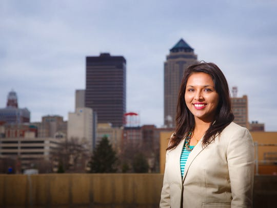 Manisha Paudel, Equity Coordinator for the city of Des Moines, is slated to attend Quint Studer's talk on how to retain young talent. In this photo, Paudel stands for a portrait outside her office Thursday, Dec. 14, 2017.