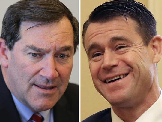 Democratic Sen. Joe Donnelly (left) and Republican  Sen. Todd Young.