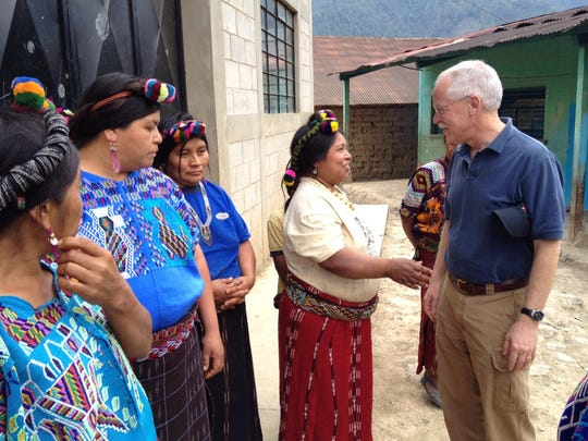 Rick Peyser meets with Mayan women coffee farmers, in Sotzil, El Quiche, Guatemala, to discuss a food security project funded by Green Mountain Coffee.
