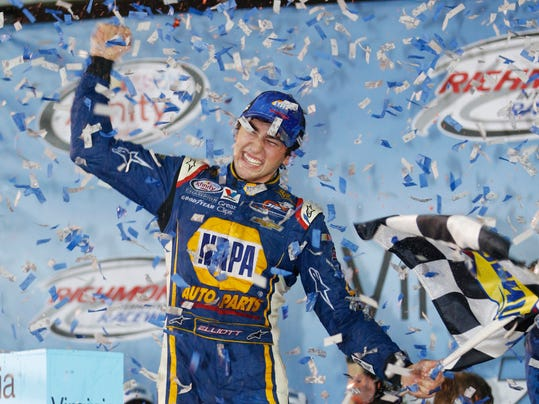 FILE - In this Sept. 11, 2015, file photo, Chase Elliott celebrates winning the NASCAR Xfinity Series auto race at Richmond International Raceway in Richmond, Va. With four-time champion Jeff Gordon retired and three-time champ Tony Stewart sidelined with a broken back, the NASCAR season begins with a much different look and a new rules package.  (AP Photo/Steve Helber, File)