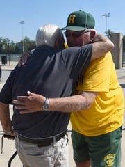 Al Fracassa (left) and John Herrington met at Harrison High School to talk about football and their storied careers as Michigan's winningest coaches.