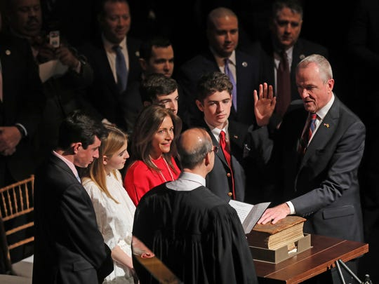 The inauguration of Philip Murphy as Governor of New Jersey. Chief Justice Stuart Rabner swears in Phil Murphy as New Jersey Governor in front of the Murphy family. He is using the Bible used to swear in President John F. Kennedy.
