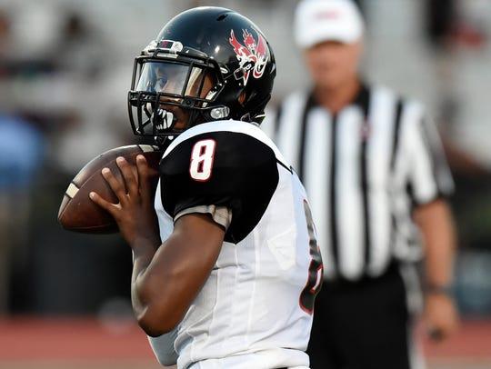 Pearl-Cohn quarterback Xavier A. Shepherd (8) passes