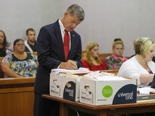 Commonwealth's Attorney Joe Crawford watches over proceedings in Carroll County Circuit Court on Oct. 3.