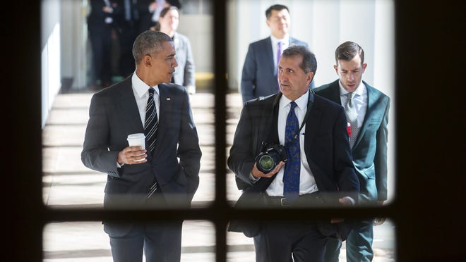 "A scene featuring President Barack Obama, left, from ""The Way I See It,"" a film about White House photographer Pete Souza directed by Martha's Vineyard resident Dawn Porter."