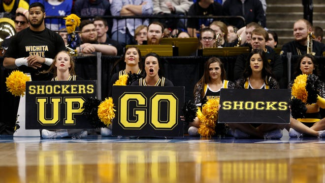 Wichita State Shockers cheerleaders perform against the Kentucky Wildcats during the first half in the second round of the 2017 NCAA Tournament at Bankers Life Fieldhouse on March 19.