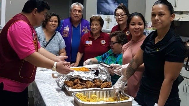Lions Clubs worldwide are facing the challenge of alleviating hunger by feeding 200 million each year by the year 2020.  Local Lions, committed to this goal and are providing two homeless feedings per month from July 2018 to June 2019 under the leadership of District Governor Danny Cruz.  The Guam Ayudante Lions Club kicked off the 1st feeding of the District 204 Hunger Relief Program at Kamalen Karidad in Hagatna on July 17.  Pictured from left: Joe Meno, president; Judy Flores, secretary; Danny Cruz; Rosie Fejeran, zone 1 chair, charter president; Natti Pisaro, treasurer; Dot Cruz, Kaesy Mafnas, and Jolene Cruz.  Not shown: Arlene Sablan, first vice-president.