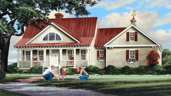 The wide porch gives this home inviting, country-style curb appeal, while the discreet side-facing garage keeps the focus on the front.