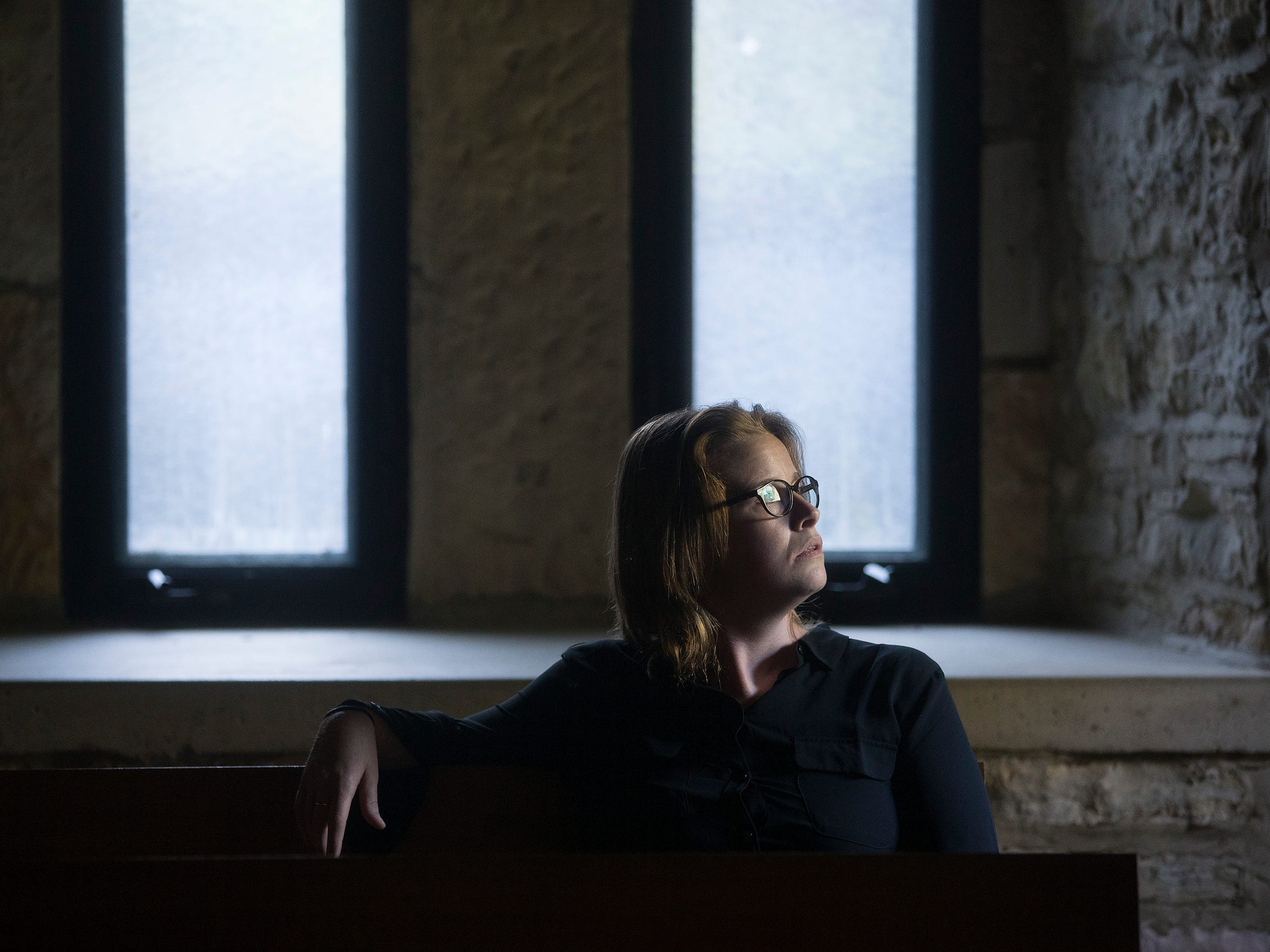 Ames native Cassidy Hall seeks silence in the guest chapel during a retreat at New Melleray Abbey in Peosta, Iowa, Wednesday, Sept. 9, 2015.